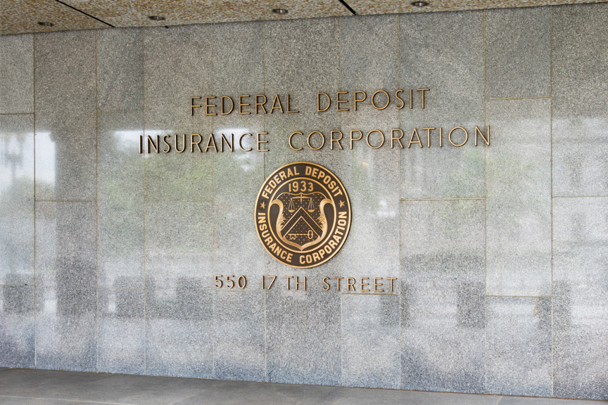 The Seal of the FDIC on the side of the building