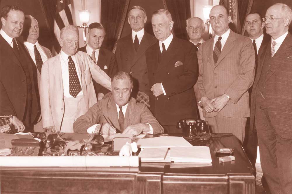 On June 16, 1933, President Franklin Roosevelt signed the Banking Act of 1933, a part of which established the FDIC.