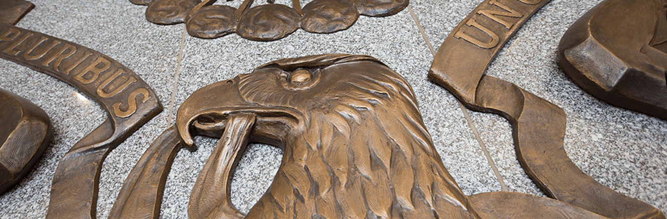 Close up of seal of the United States, on display at FDIC headquarters in Washington, D.C.