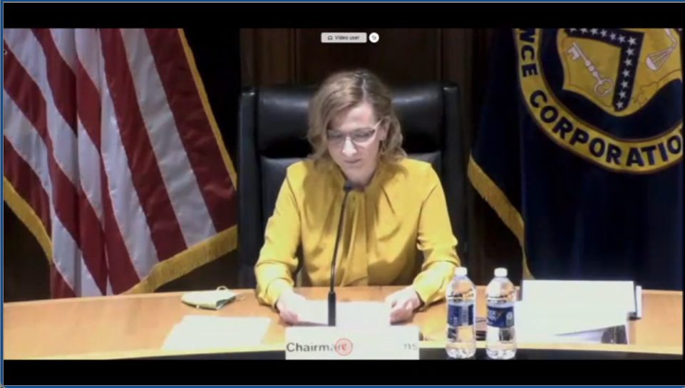 Picture of Chairman Jelena McWilliams calling the June 25th board meeting to order.