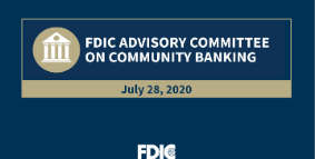 Image of FDIC Advisory Committee on Community Banking logo, July 28, 2020.