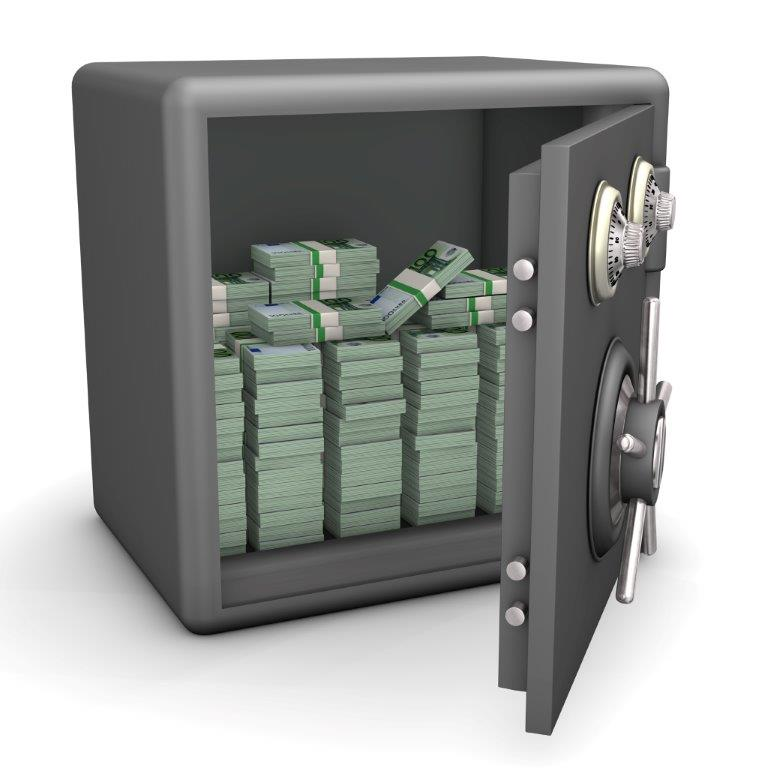 Image of open safe with cash inside