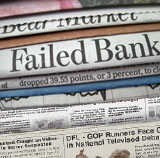 Newspaper header says Failed Bank