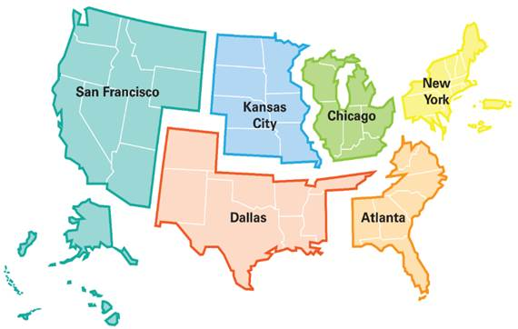 Community Affairs Regional Map with San Francisco, Dallas, Kansas City, Atlanta, New York and Chicago.
