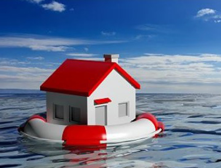 August Article Monthly Image - a small house floating in a raft over flooded waters