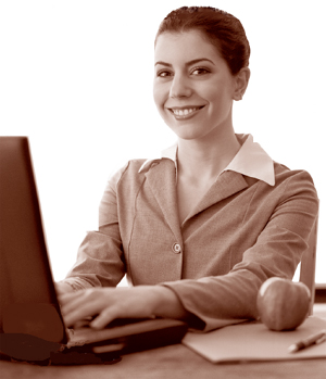 A picture of a woman on a laptop computer
