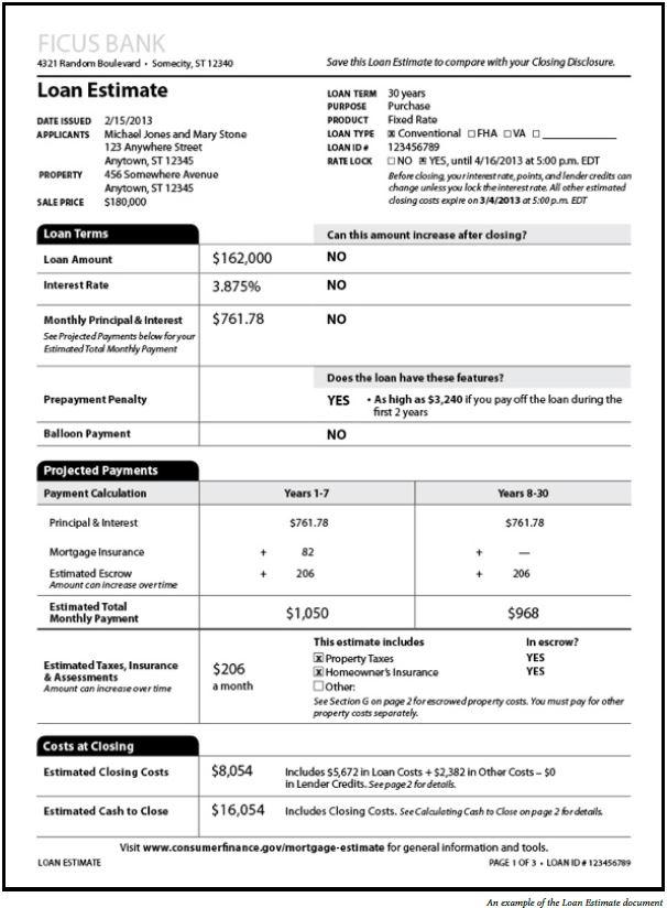 Loan Estimate Document Image