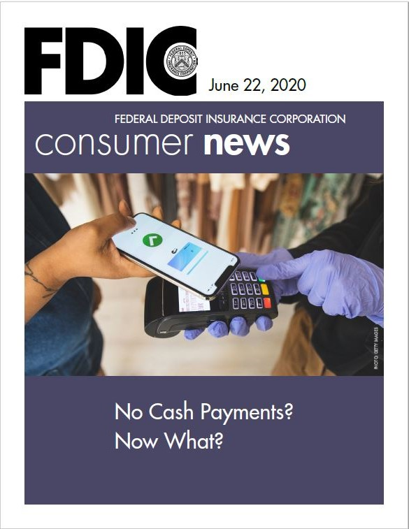 June Article Cover Page - Image of a lady paying for something using her smart phone on a mobile register
