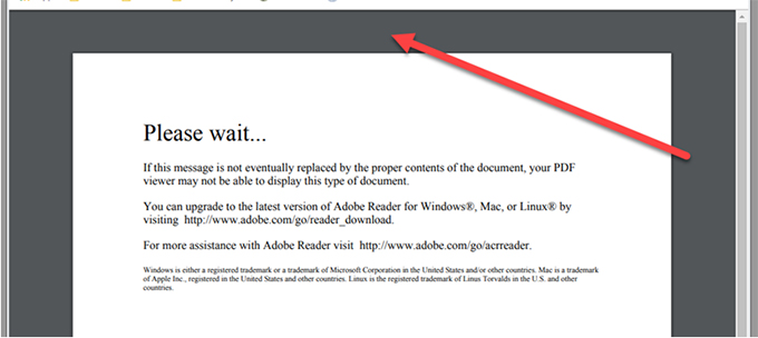 A screenshot showing Adobe Reader with an arrow pointing to PDF header