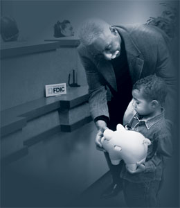 Man and Child With Piggy Bank