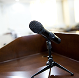 Speeches & Testimony - image of a microphone
