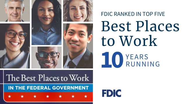 FDIC Ranked in Top 5 Best Places to Work 10 Years Running